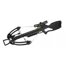 Мощный охотничий арбалет Man Kung MK-380 черного цвета с оптикой