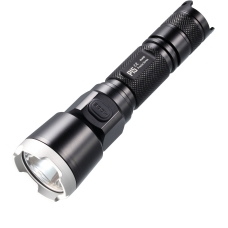 Тактический фонарь в черном алюминиевом корпусе с стальной ударной кромкой