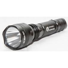 Мощный профессиональный ультрафиолетовый фонарь в алюминиевом корпусе черного цвета