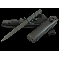 Черный кинжал в историческом дизайне с ножнами из нейлона и кожаными ножнами.