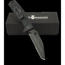 Складной нож итальянского спецназа в черном цвете с клинком типа танто